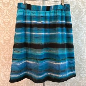 apostrophe lined skirt in blues greens w/ pockets